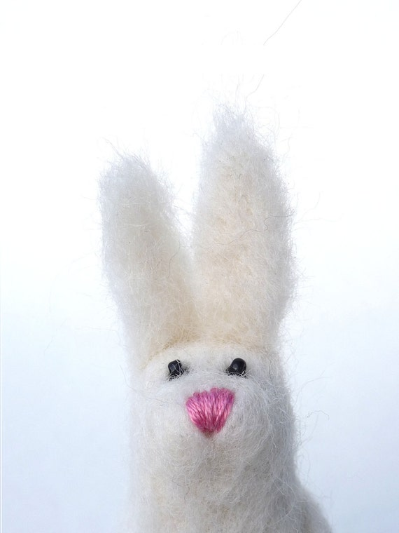 "Needle felted bunny sculpture ""Bianca"""