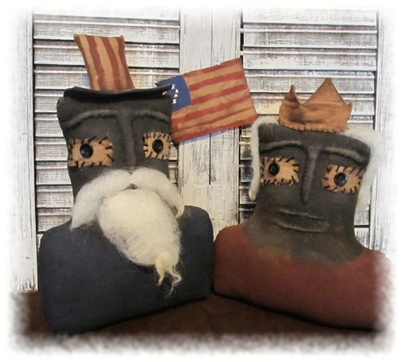 Extreme Primitive Americana  Liberty and Sam Doll Busts
