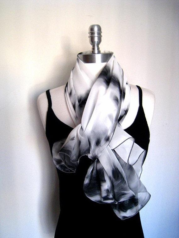White black grey tiger print in chiffon scarf