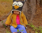 Baby owl hat with earflaps, baby hat, animal hat - This crochet hat is neutral and can be used for a boy or girl. All sizes available.