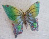 Vintage 70s Butterfly Brooch - Insect Pin - Green Glamor and Sparkles