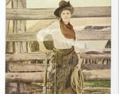 Vtg Postcard Cowgirl Hero with Rifle 1909 Copyright South Dakota