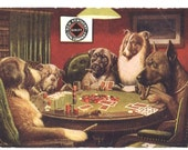 A Bold Bluff Dogs at Poker Game Vintage Postcard New Kentucky Coal Advertisement C M. Coolidge