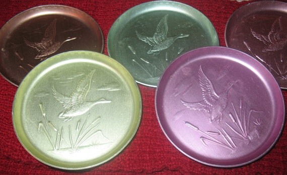 Pastel Aluminum Drink Coasters 7 Vintage Retro Water Scene Ducks Cattails