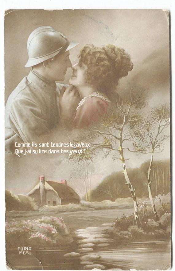 Vintage WWI Postcard Sept 1918 France to U.S. American GI Soldier Greeting