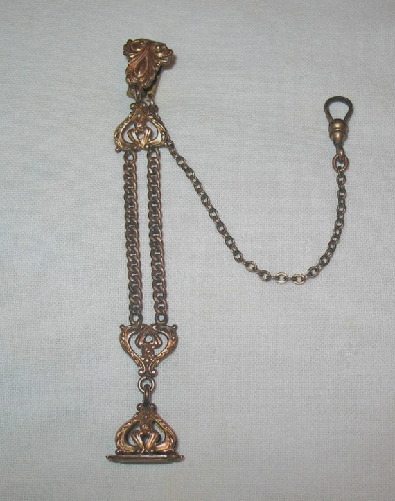 Antique Victorian  Pocket Watch Vest Pocket Fob with Attached Watch Chain