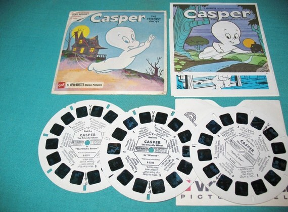 View Master Stereo Reels  B 533 Casper The Friendly Ghost, Book in Envelope Retro Cartoon