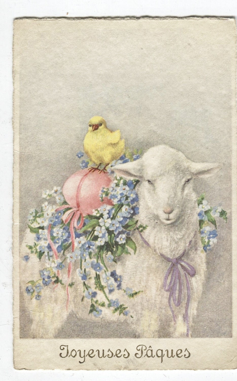 1932 vtg happy easter postcard french with stamps lamb chicks