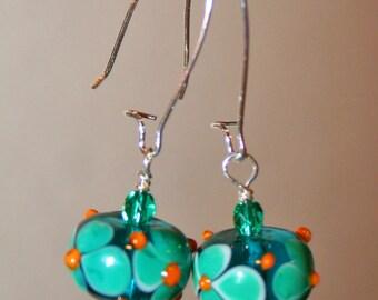 Aqua and orange hand blown glass dangle earrings.