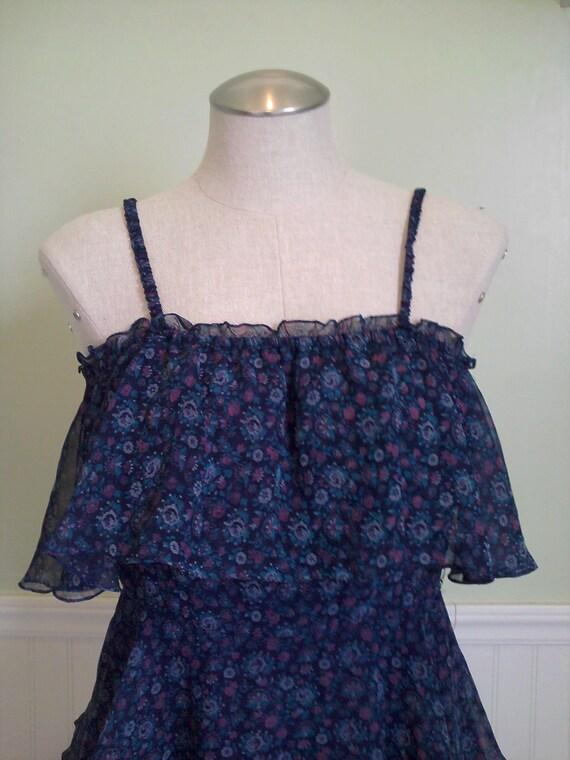 SALE: Vintage tiered dress dark blue Hippie boho 70s CLEARANCE