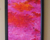 Fuschia Abstract Sunset Large, bold, framed original painting