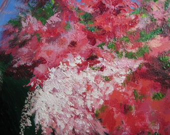 Impressionist Azaleas Original impasto painting