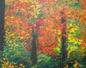 Original Abstract Painting fall forest