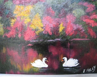 swans 2 Original painting 8x10 fall foliage