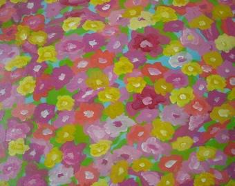Abstract Retro Flowers original painting Posies