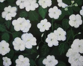 White Impatiens 2 original painting