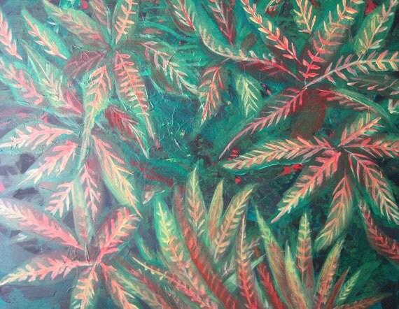 Original abstract painting Green Modern garden on sale