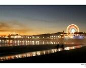 Santa Monica Pier Surfers Photo - Ocean Photograph - Black Friday Etsy, SALE, Ferris Wheel, Sunset, Surfer, Orange Sparkle, Mist, Beach