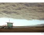 Venice Beach Photo - Lifeguard tower - Clouds, California Beaches, Analog Color Film, Moody, Travel Photography, Ocean, Cloudy Venice