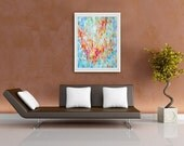 Fine Art Paper Print Red and Blue Impressionist Abstract Pointillistic Palette Knife Painting