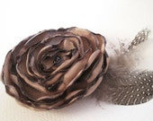 Handmade Bronze Flower Hair Clip with Feathers