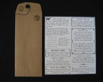 Vintage Newsletter Wedding Invitation & RSVP Set