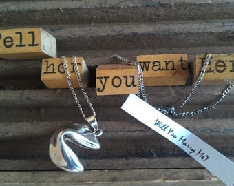 Fortune Cookie Proposal / Wish / Luck Locket in Sterling Silver with Custom Fortune