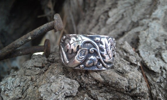 Victorian Sterling Acorn and Tree Repousse Wide Band Ring