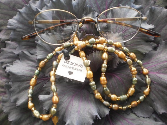 ON SALE Gold & Green Fresh Water Pearl Eyeglass Chain