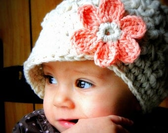 Crochet Baby Hat, kids hat, crochet newsboy hat, hat for girls, women's hat