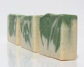 Handmade Cucumber Melon Scented Bar Soap / Ground Oatmeal / Green White Swirl / Exfoliating / 4oz