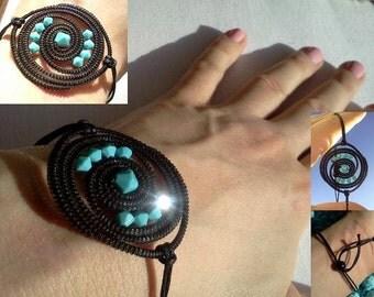 HORSE HAIR bracelet LIGHT blue circle