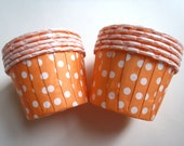 Mini Orange Polka Dot Cupcake Muffin Liners, Candy Cups, Ice Cream cups, Dessert Cups, Nut Cups - 25 Count