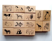 Large Animal Wood Rubber Stamps / Chops (Set of 16)