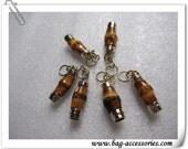 Bamboo Zipper Pulls, gold zipper pulls, 6pcs