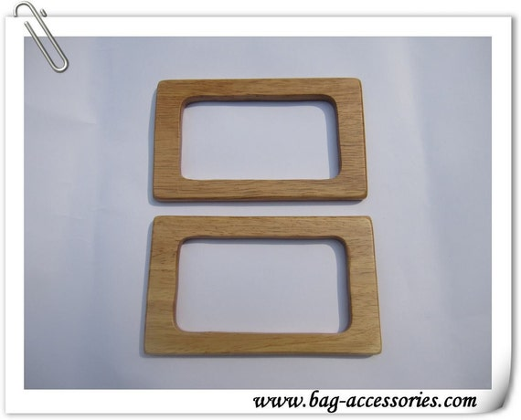 Natural  rectangle wood handle, 6inch X 3 1/2 inch, 1pair