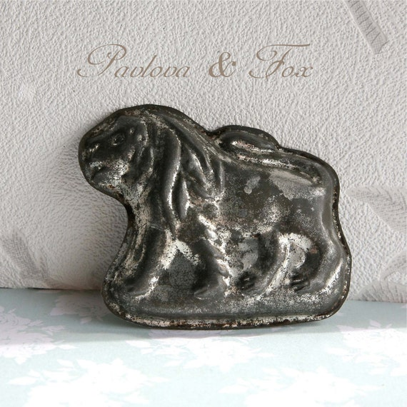 Small Vintage French Chocolate Mould, Rare Lion Shape