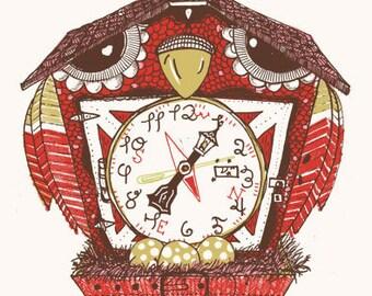 Owl Clock Screenprint