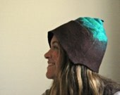 Felt hat, wool-Turquoise and brown