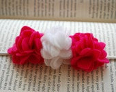 Perfect Posy Trio Felt Flower Headband Shown in Pink and White Perfect Photo Prop
