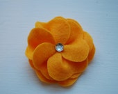 Orange Felt Flower Hair Clip with Sparkle Center Perfect for Spring and Summer also available as a Headband