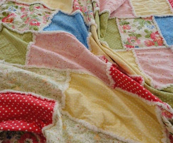 Rag Quilt Throw All Natural Spring Bright Colors