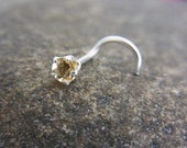 Genuine Citrine claw setting STERLING SILVER nose screw