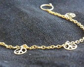 gold filled dangle peace charms nose chain