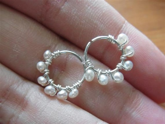 Fresh water pearls wire wrapped seamless hoop