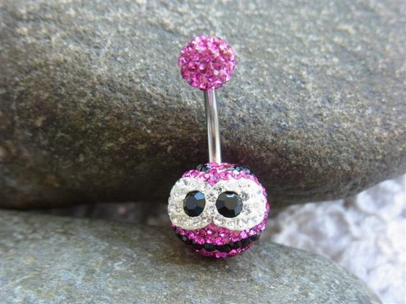 Pave crystal ball belly ring (Cartoon design) - Ferido belly ring