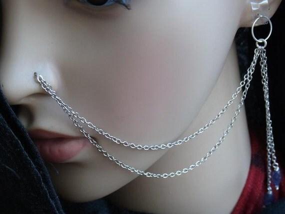 Double strands dangle IOLITE nose chain