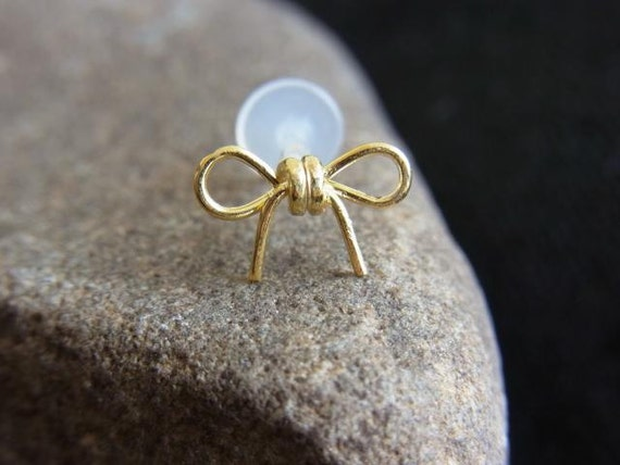 14k gold filled Cutie bow Silver bio flexible Tragus (please specific length 8 or 10mm)