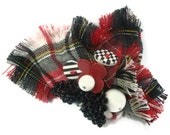 Red,black,white tartan brooch