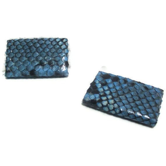 Turquoise, black python shoe-clips handmade in Italy